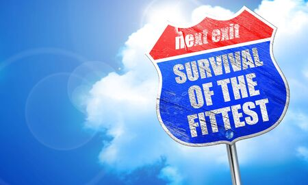 fittest: survival of the fittest, 3D rendering, blue street sign