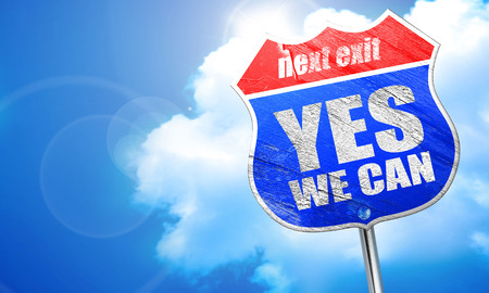yes we can, 3D rendering, blue street sign Stock Photo