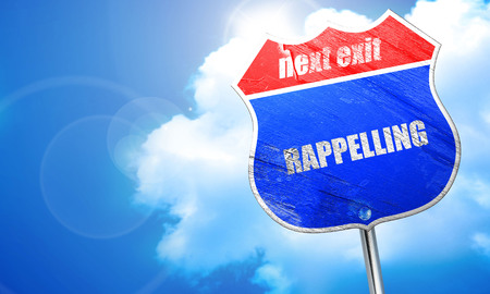 rappelling: rappelling, 3D rendering, blue street sign Stock Photo