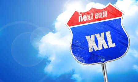 xxxl: xxl sign background with some soft smooth lines, 3D rendering, blue street sign