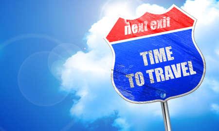 travel, 3D rendering, blue street sign