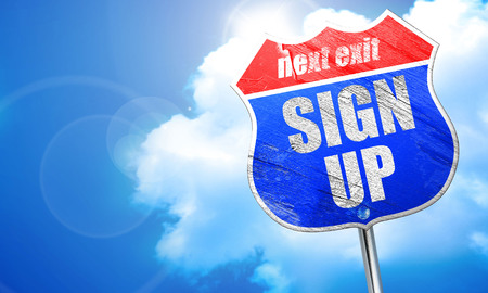 sign up, 3D rendering, blue street sign