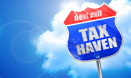 tax haven, 3D rendering, blue street sign