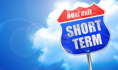 short term, 3D rendering, blue street sign