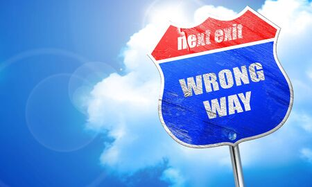 wrong way: wrong way, 3D rendering, blue street sign