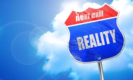 reality, 3D rendering, blue street sign