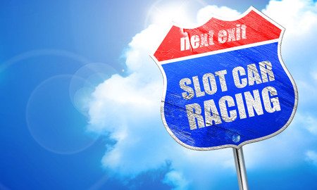 slot car track: slot car racing, 3D rendering, blue street sign Stock Photo