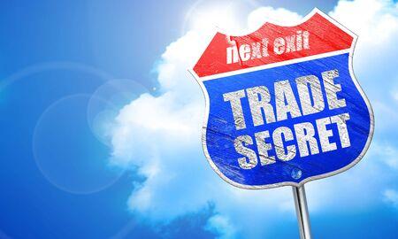 trade secret: trade secret, 3D rendering, blue street sign