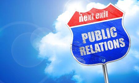 relaciones publicas: relaciones p�blicas, 3D, se�al azul calle Foto de archivo