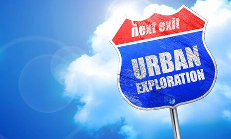 urban exploration, 3D rendering, blue street sign Stock Photo