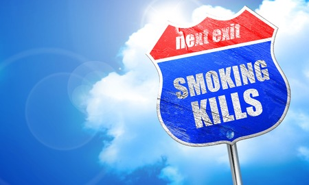 killing cancer: smoking kills, 3D rendering, blue street sign