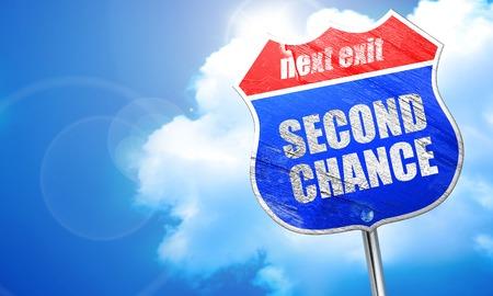 zweite Chance, 3D-Rendering, blau Straßenschild