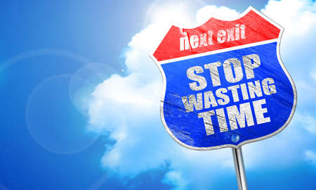 wasting: stop wasting time, 3D rendering, blue street sign