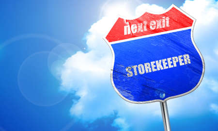 stockman: storekeeper, 3D rendering, blue street sign