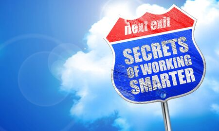 maximization: secrects of working smarter, 3D rendering, blue street sign