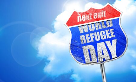 persecution: world refugee day, 3D rendering, blue street sign