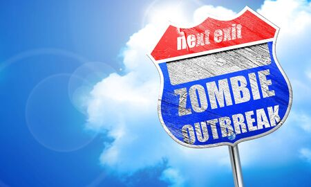 quarantine: zombie virus concept background with some soft smooth lines, 3D rendering, blue street sign