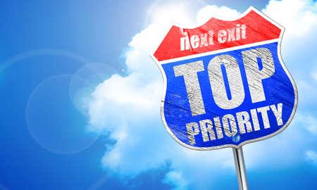 precedence: top priority, 3D rendering, blue street sign