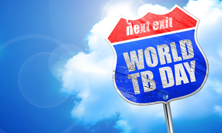 medical fight: world tb day, 3D rendering, blue street sign