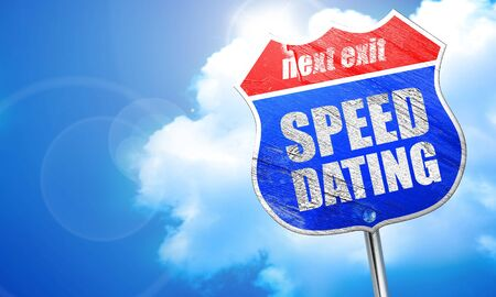 speed dating: speed dating, 3D rendering, blue street sign