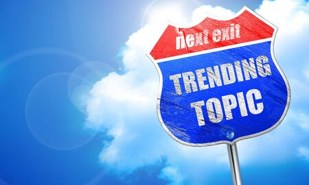 topic: trending topic, 3D rendering, blue street sign