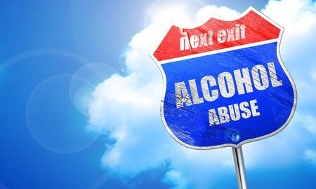 dependance: Alcohol abuse sign with some soft flowing lines, 3D rendering, blue street sign