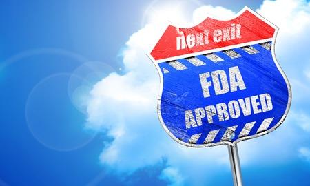 FDA の承認の背景にいくつかの滑らかなライン、3 D レンダリング、青い道路標識 写真素材