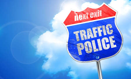 traffic police, 3D rendering, blue street sign