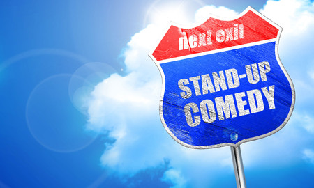 stand-up comedy, 3D rendering, blue street sign Stock Photo