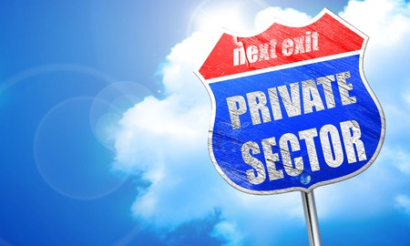 public domain: private sector, 3D rendering, blue street sign Stock Photo