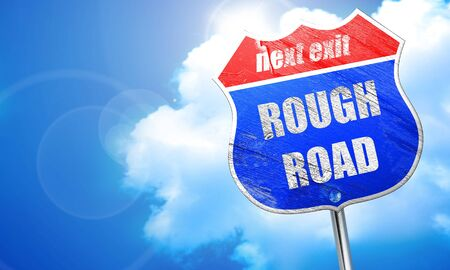 rough road: Rough road sign with some soft glowing highlights, 3D rendering, blue street sign