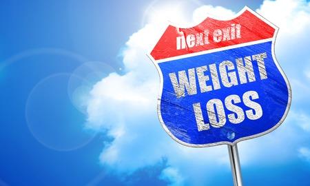 weight loss, 3D rendering, blue street sign