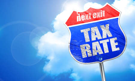 rate of return: tax rate, 3D rendering, blue street sign
