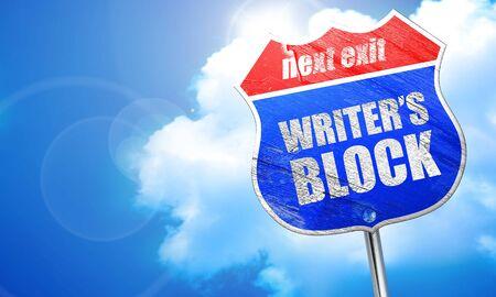 writers block, 3D rendering, blue street sign