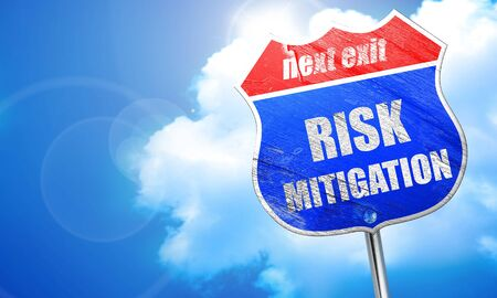 oversight: Risk mitigation sign with some smooth lines and highlights, 3D rendering, blue street sign Stock Photo