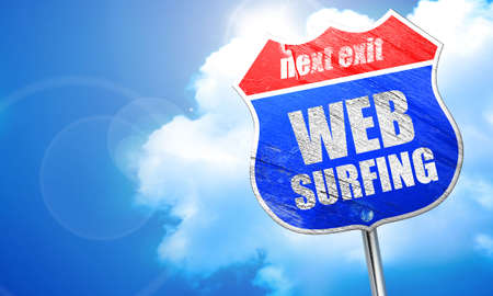 web surfing: web surfing, 3D rendering, blue street sign