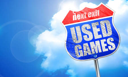 users video: used games, 3D rendering, blue street sign