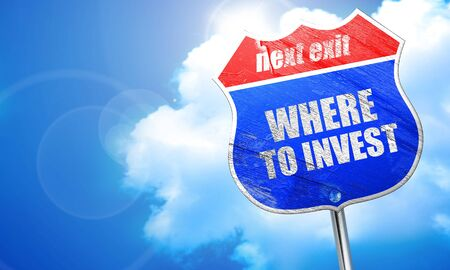 financial questions: where to invest, 3D rendering, blue street sign Stock Photo