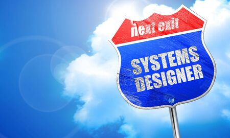 users video: systems designer, 3D rendering, blue street sign