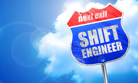 shift engineer, 3D rendering, blue street sign Stock Photo