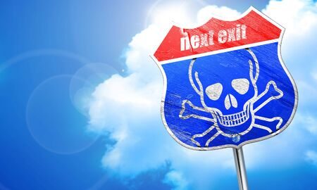 poison sign: Poison sign background with some soft scratches and dents, 3D rendering, blue street sign Stock Photo