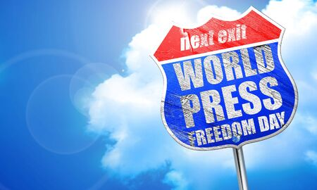 world press freedom day, 3D rendering, blue street sign