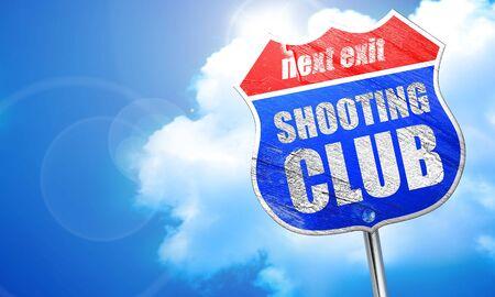 shooting club, 3D rendering, blue street sign Stock Photo