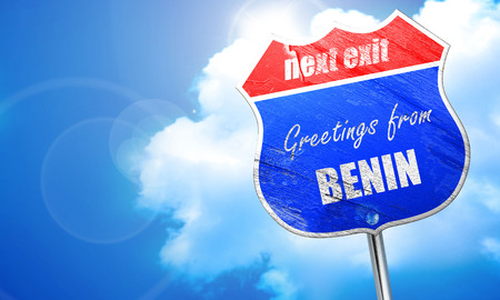 Greetings from benin card with some soft highlights, 3D rendering, blue street sign