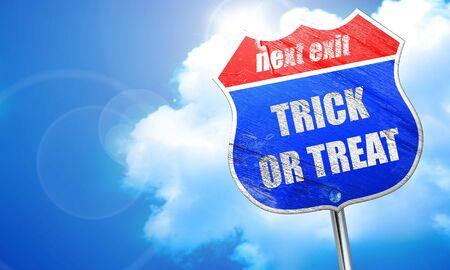 treat: trick or treat, 3D rendering, blue street sign