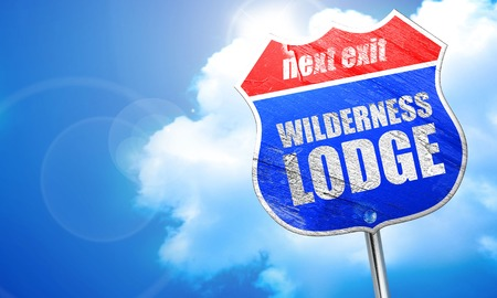 lodge: wilderness lodge, 3D rendering, blue street sign Stock Photo