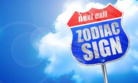 astrologer: , 3D rendering, blue street sign
