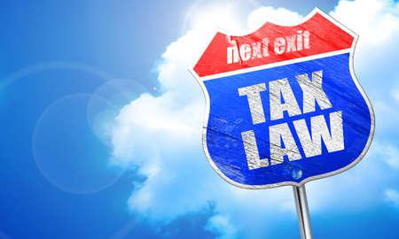 tax law: tax law, 3D rendering, blue street sign Stock Photo