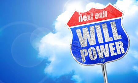 willpower: willpower, 3D rendering, blue street sign