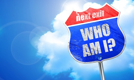 who am i?, 3D rendering, blue street sign Stock Photo